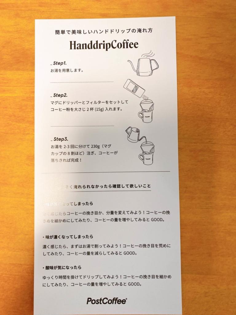 コーヒー淹れ方説明書