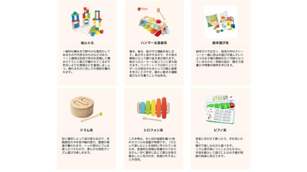 1〜2歳向けおもちゃ例